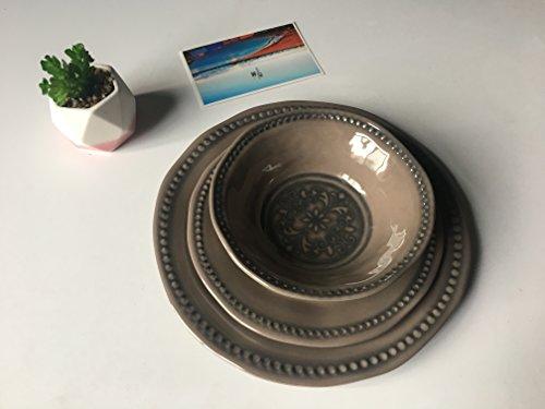 12 Pcs Melamine Dish Set - Hware Ourdoor Camping Dinnerware Service for 4Grey