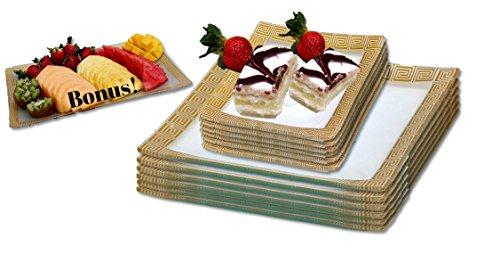 GAC Square Tempered Glass Dinnerware Set Service for 6 Dessert Plates and Dinner Plates Plus Bonus Glass Rectangular Platter – Break and Chip Resistant – Oven Microwave and Dishwasher Safe
