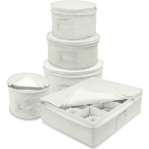 Sorbus Dinnerware Storage 5-Piece Set for Protecting or Transporting Dinnerware — Service for 12 — Round Plate and Cup Quilted Protection Felt Protectors for Plates Fine China Case Beige