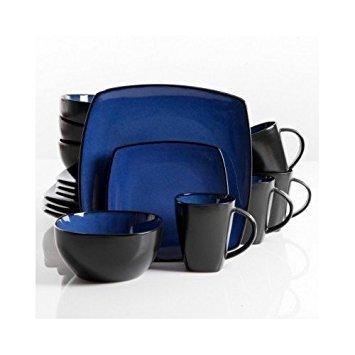 Square Dinnerware Service for 8 Plates Bowls Mugs 32-Piece Set Modern Blue Black