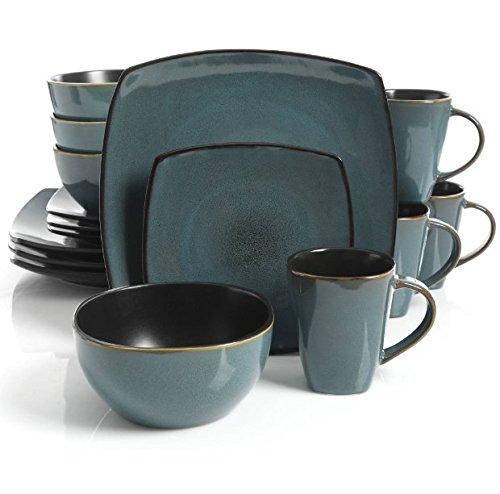 Square Dinnerware Service for 8 Plates Bowls Mugs 32-Piece Set Modern Teal Black