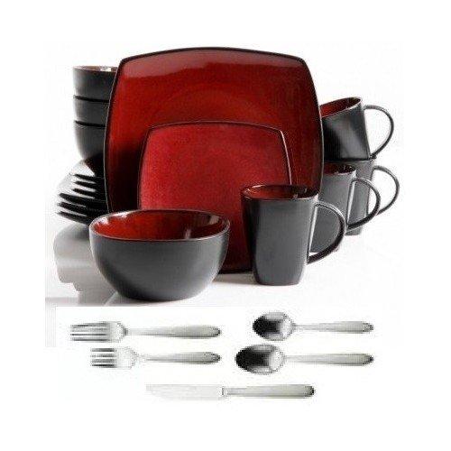 Square Dinnerware Service for 8 Plates Bowls Mugs Flatware Silverware 77-Piece Set Red Black