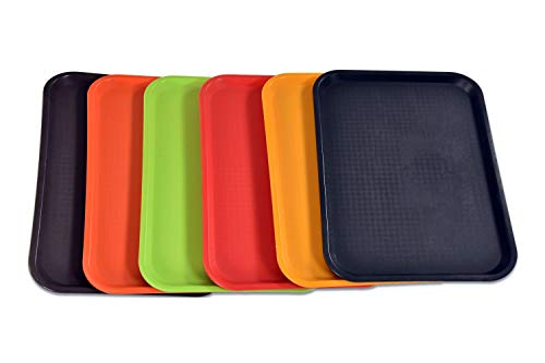 BonBon Fast Food Serving Lunch Cafeteria Trays Assorted Colors PACK OF 6