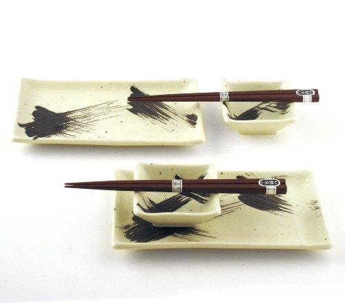 Japanese Sushi Tray Set for Two with Chopsticks Brush Black on White