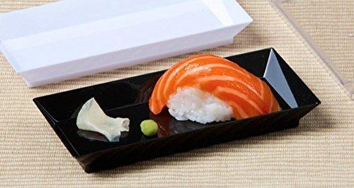 Zappy 50 ct 25 x 5 Elegant Petite Mini Rectangle Tray Appetizer Dessert Plates - Disposable Hard Plastic Miniature Tasting Sushi Trays Sample Dish Party Plates Black