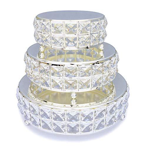 3PcsSet Mirror Top Bling Crystal Wedding Cake Stand Cupcake Base Dessert Serving PlateCenterpieceset 4