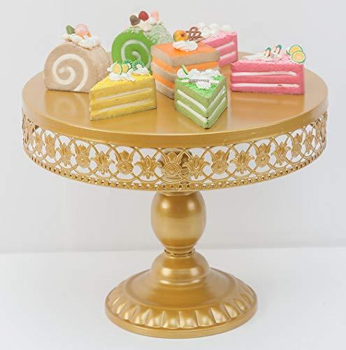 Antique Gold Metal Cake Stand Round Cupcake Stands Wedding Birthday Party Dessert Cupcake PedestalDisplayPlate 12in