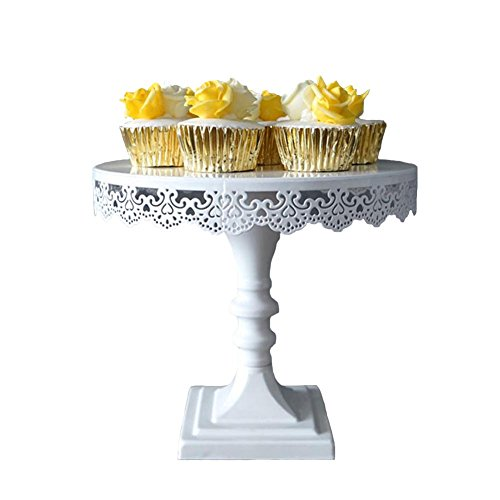 Pedestal Cake Stand 10 inch White Decorative Dessert Stand and Tray for Tea Birthday and Wedding Party Cupcake Display Perfect for Showing Cookies Brownies Muffins and Cake Platter9 inch tall