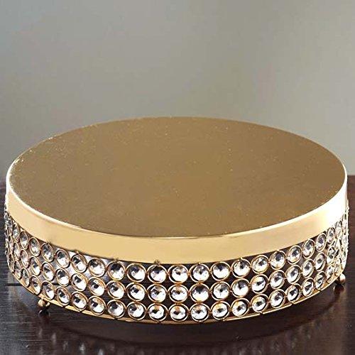 Efavormart Gold Grand Wedding Beaded Crystal Metal Cake Stand - 155 Diameter