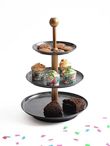 Elan Tiered Cupcake Stand Metal Knob 3 Antique Black