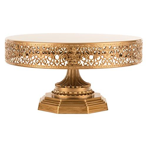 Victoria Antique Gold 12 Inch Metal Cake Stand Round Wedding Birthday Party Dessert Cupcake Pedestal Display Plate