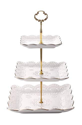 3-Tier Square Ceramic Cupcake Stand - Golden Edge Elegant Embossed Porcelain Dessert Display Cake Stand - For Birthday Weddings Tea Party