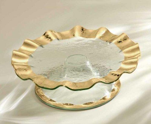 Annieglass Glass Pedestal Cake Plate Ruffle with Gold Rim