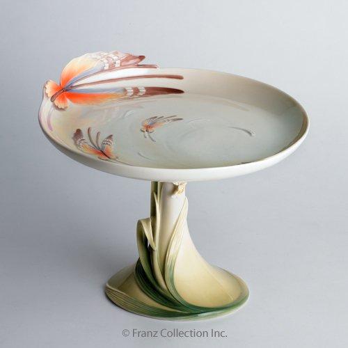 Franz Porcelain Papillon butterfly pedestal cake plate