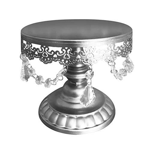 LIOOBO Tron Crystal Stand Wedding Stand Cake Stand Round Wedding Birthday Party Dessert Cupcake Pedestal Display Plate S Silver