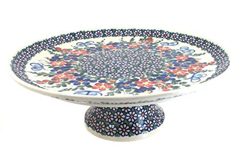 Polish Pottery Garden Butterfly Pedestal Cake Plate