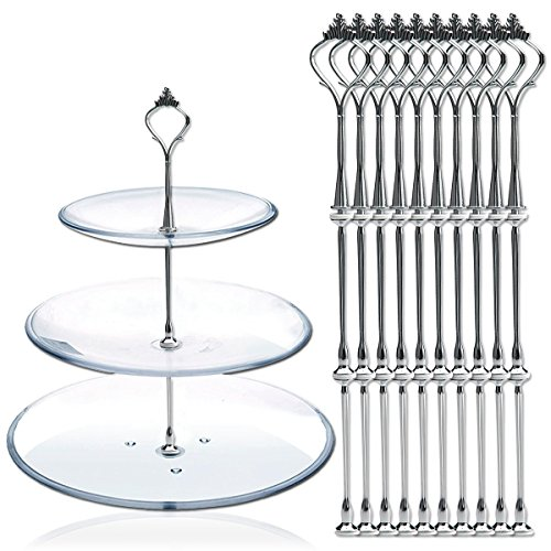 DGQ 10 x Sets 2 or 3 Tier Cake Plate Stand Fittings Silver Plate Stands 1