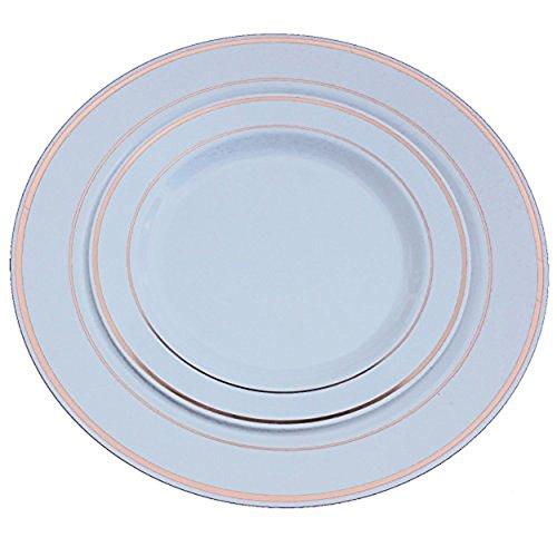 Exquisite Reflective Plastic Plates-60 Peices Premium Heavyweight Plastic Dinnerware 30- 1025 Dinner and 30 - 75 SaladDinner Wedding Like China Rose Gold
