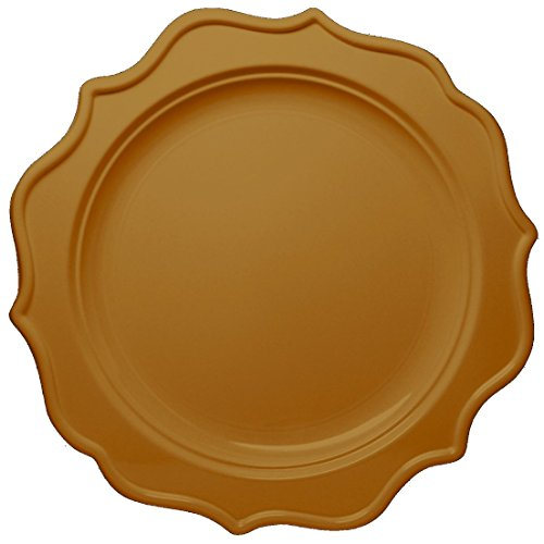 Posh Setting Festive Collection Medium Weight Plastic Gold Colored 8 inch Party Plates 12 Pack