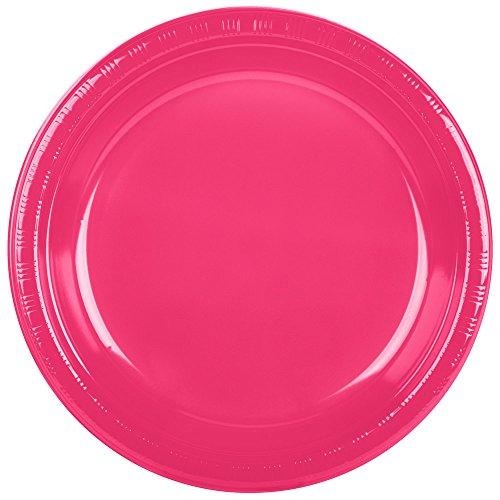 Creative Converting 28177031 10 Hot Magenta Pink Plastic Plate - 20Pack