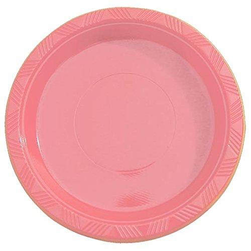 Exquisite 7 Inch Pink Plastic DessertSalad Plates - Solid Color Disposable Plates - 50 Count