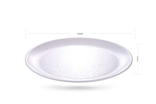 Unbreakable 11-inches Plastic Dinner Plates Set of 6 White MicrowaveDishwasher Safe BPA Free