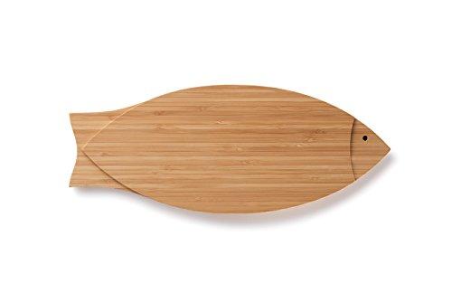 BAMBU- Organic Bamboo Cutting Board and  Serving Tray -100 Natural and Eco Friendly – Natural Brown - Fish Platter