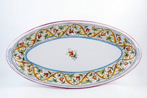 Hand Painted Italian Ceramic 177-inch Fish Platter Primizia - Handmade in Deruta