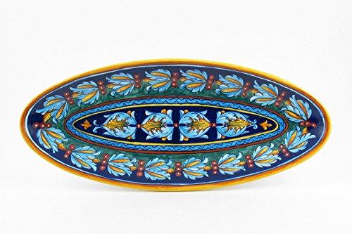 Hand Painted Italian Ceramic 216-inch Fish Platter Full Decoration Geometrico 39E - Handmade in Deruta