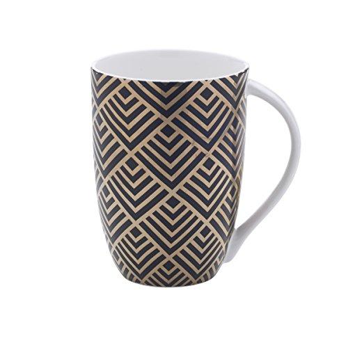 Mikasa Bone China Coffee Mug 16-Ounce Geo Diamond BlackGold