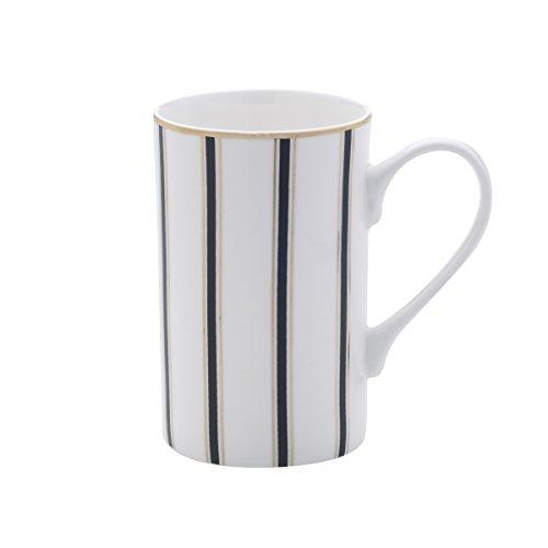 Mikasa Bone China Coffee Mug 16-Ounce Stripes WhiteBlackGold