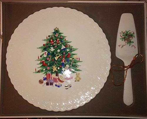 Mikasa Christmas Spirit B2098 Bone China Cake Plate and Server Set