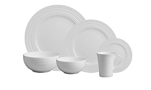 Mikasa Swirl White 36-pc Bone China Dinnerware Set Service for 6