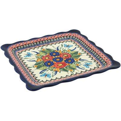 Polish Pottery Platter 9-inch Spring Splendor UNIKAT