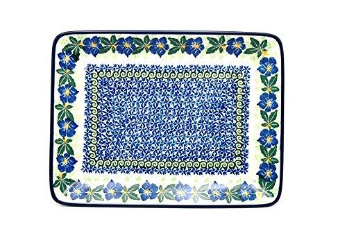 Polish Pottery Platter - Rectangular - Blue Pansy