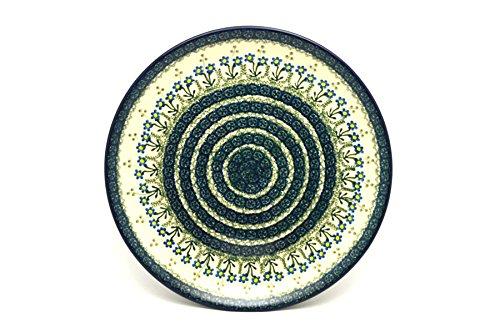 Polish Pottery Platter - Round 12 14 - Blue Spring Daisy