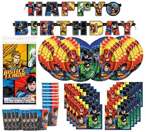 DC Comics Justice League Superheros Birthday Party Supplies Pack Bundle serves 16  Plates Cups Napkins Banner Table Cover