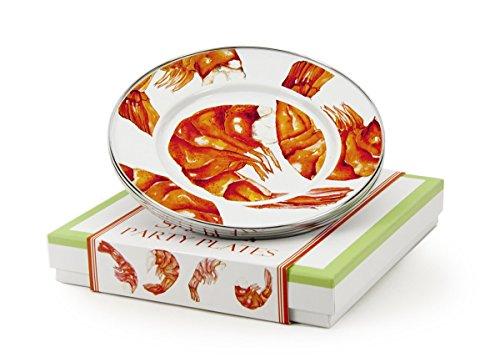 Enamelware - Shrimp Pattern - 4-Piece Giftboxed Set of 85 Inch Sandwich Plates