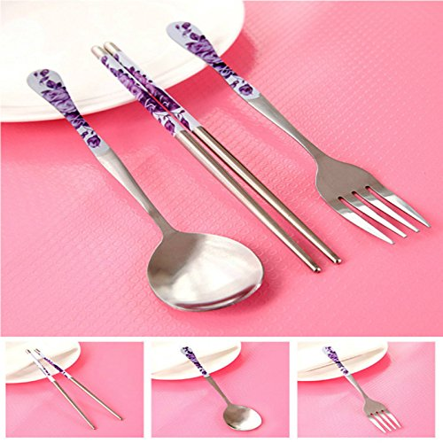 TOPmountain 3Pcs1Set Chinese Tableware Blue White Porcelain Tableware Fork Spoon Chopsticks Purple