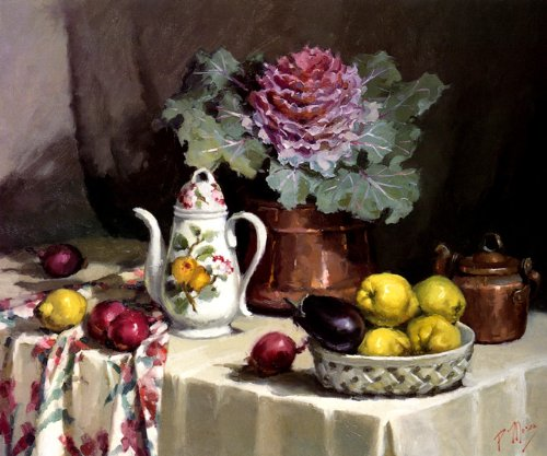STILL LIFE WITH COFFEE JUG BY PAT MORAN ON IMAGE SIZE 20 X 24 ON CANVAS REPRO