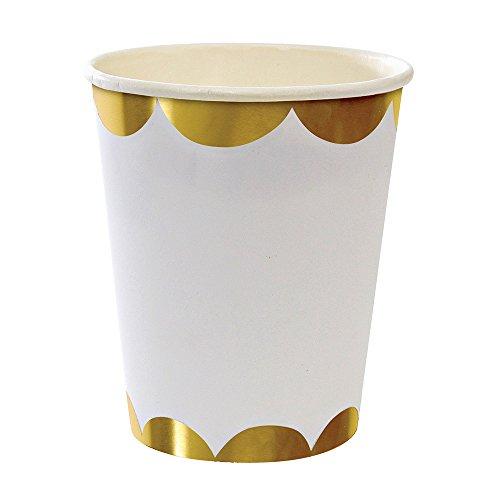 Meri Meri Gold Scallop Cups Birthday Party Decorations Dinnerware - Pack of 8