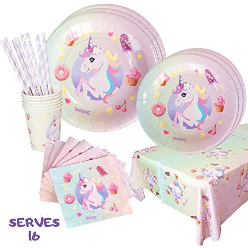 Unicorn Rainbow Party Dinnerware Supplies  Disposable Plates Cups Napkins Set - Serves 16