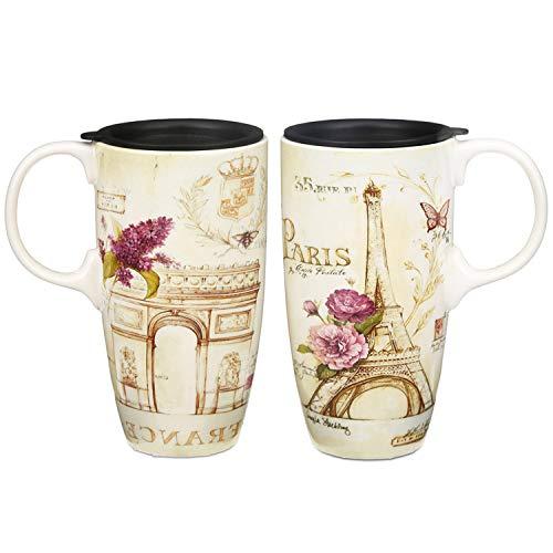 CEDAR HOME Travel Coffee Ceramic Mug Porcelain Latte Tea Cup With Lid in Gift Box 17oz France Eiffel Tower 2 Pack