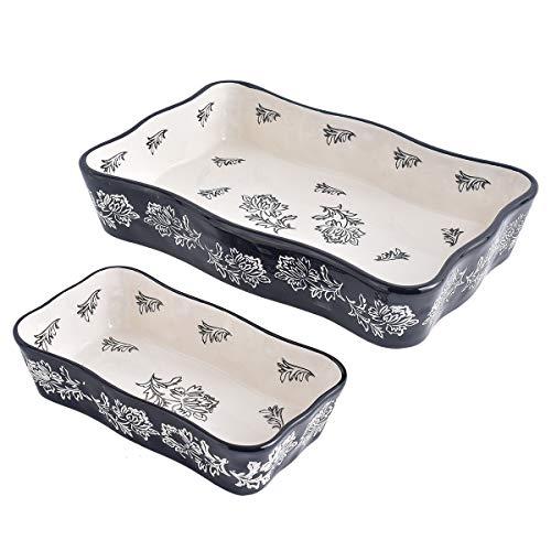 KINGSBULL HOME Bakeware Ceramic Baking Set 2-Piece Baking Pans Porcelain Baking Dish Black Lasagna Pan Casserole Dish