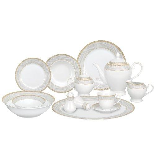 Lorren Home Trends 57-Piece Porcelain Dinnerware Set Alina-GD Service for 8