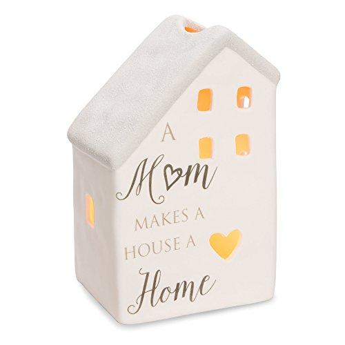 Pavilion Gift Company 86200 Love Lives Here-A Mom Makes Home Porcelain House Candle Holder