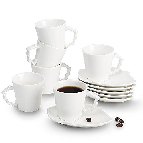 Porcelain Ceramics Italian Turkish Mini Espresso Coffee Cups Leaves Series 2 oz Cups Saucers Set of 6Sweejar Home