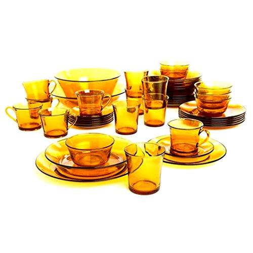 Duralex - Lys Vermeil Glass Dinnerware 44pc set Service for 6