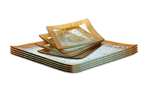 GAC Elegant Designed Square Tempered Glass Dessert Plates Set and Glass Dinner Plate Set Glass Dinnerware Set Service for 4 – Break and Chip Resistant - Oven Proof - Microwave Safe - Dishwasher Safe