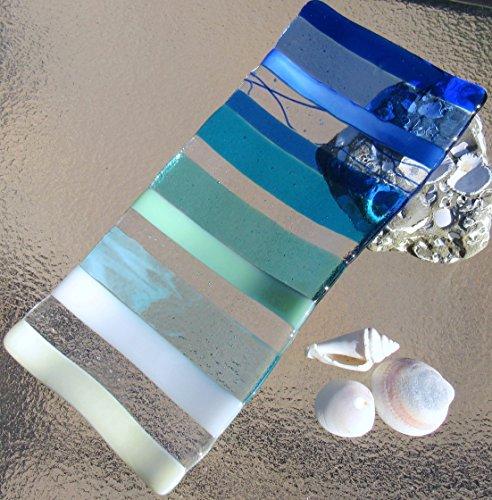 Ocean Beach Glass Plate Sea Glass Jewelry Keeper Fused Glass Sushi Plate Ocean Stripes Spoon Rest Turquoise Blue Sea Glass Appetizer Dish Ocean Waves Beach Glass Art Beach House Decor